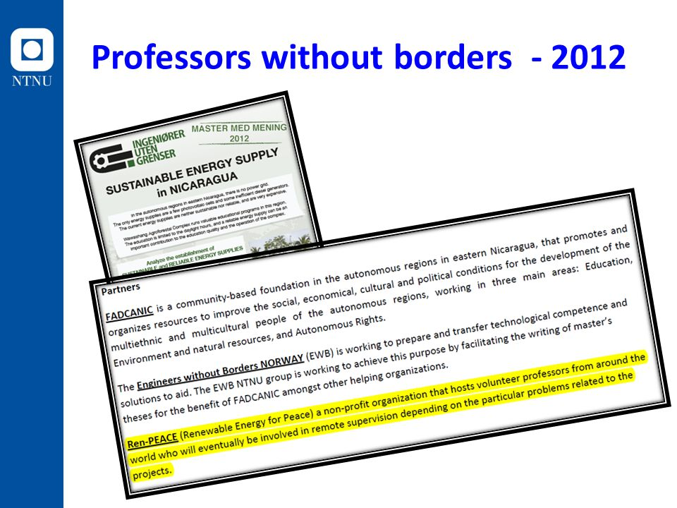 Professors without borders - 2012
