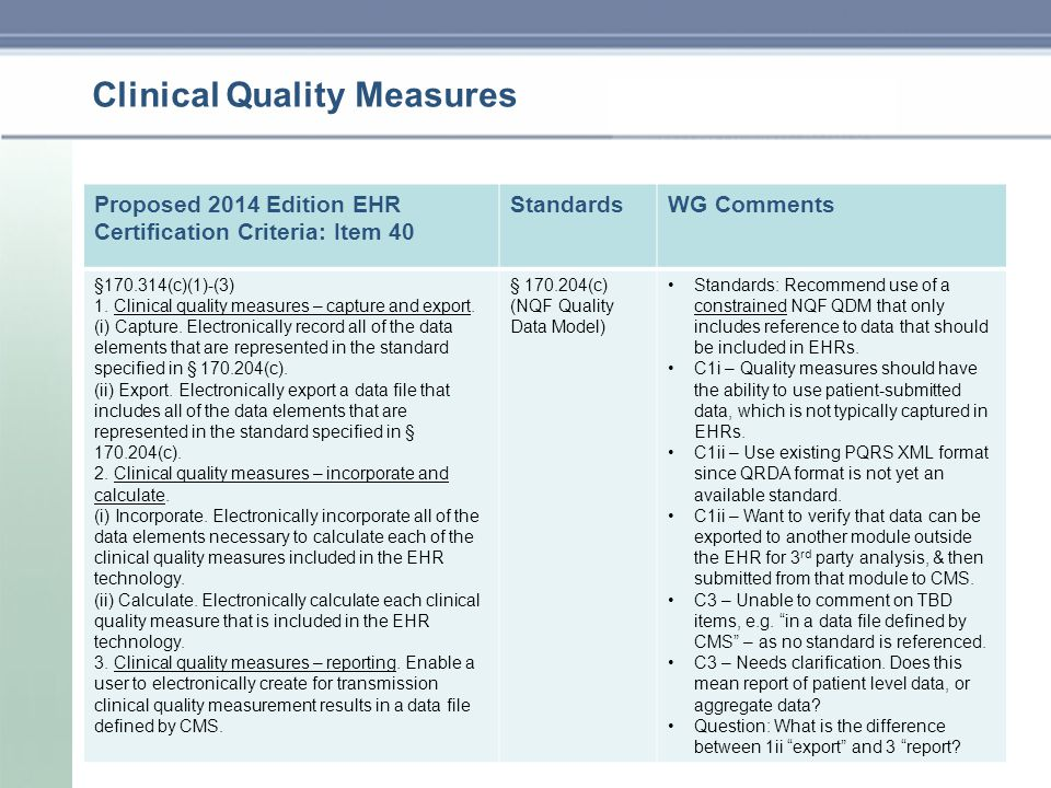 Clinical Quality Measures Proposed 2014 Edition EHR Certification Criteria: Item 40 StandardsWG Comments §170.314(c)(1)-(3) 1.