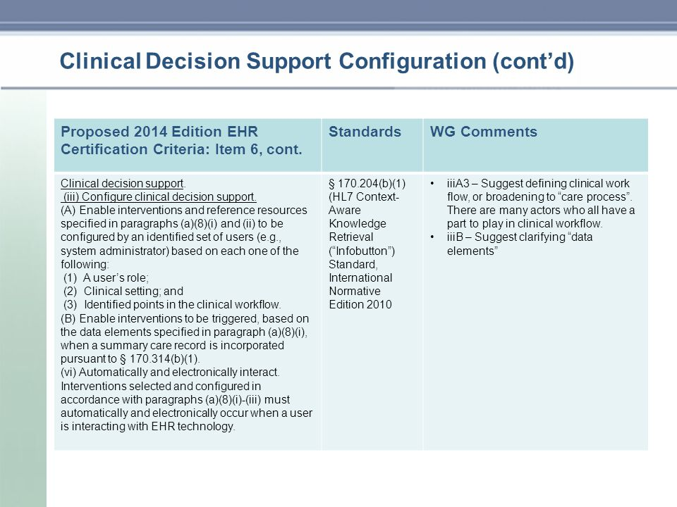 Clinical Decision Support Configuration (cont'd) Proposed 2014 Edition EHR Certification Criteria: Item 6, cont.