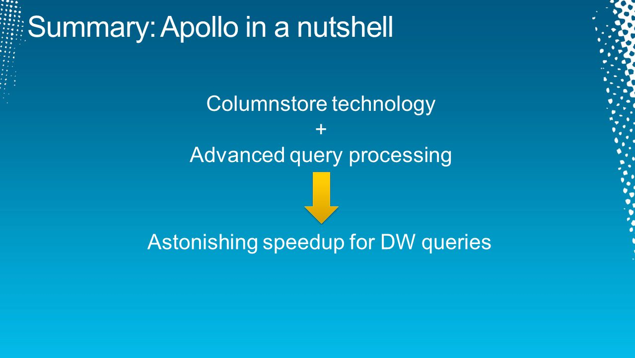 Astonishing speedup for DW queries Columnstore technology + Advanced query processing