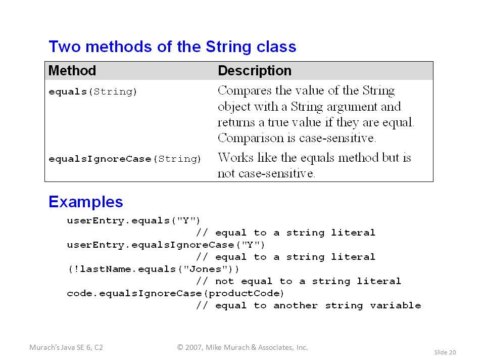 Murach's Java SE 6, C2© 2007, Mike Murach & Associates, Inc. Slide 20