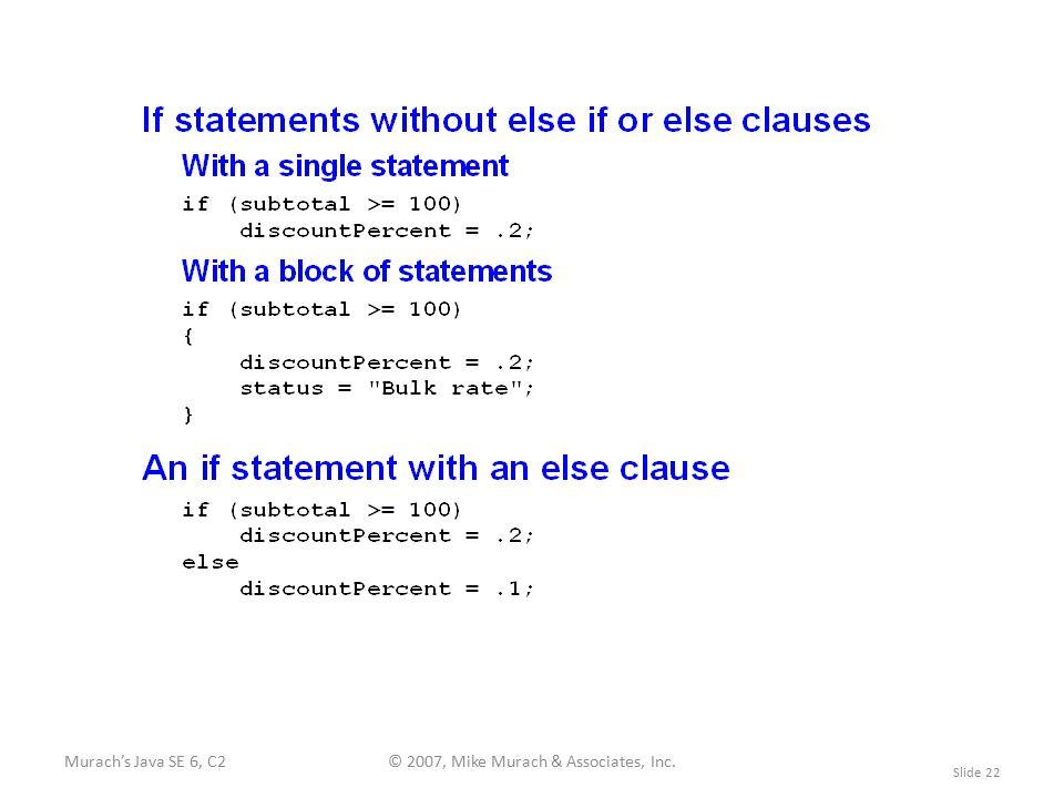 Murach's Java SE 6, C2© 2007, Mike Murach & Associates, Inc. Slide 22
