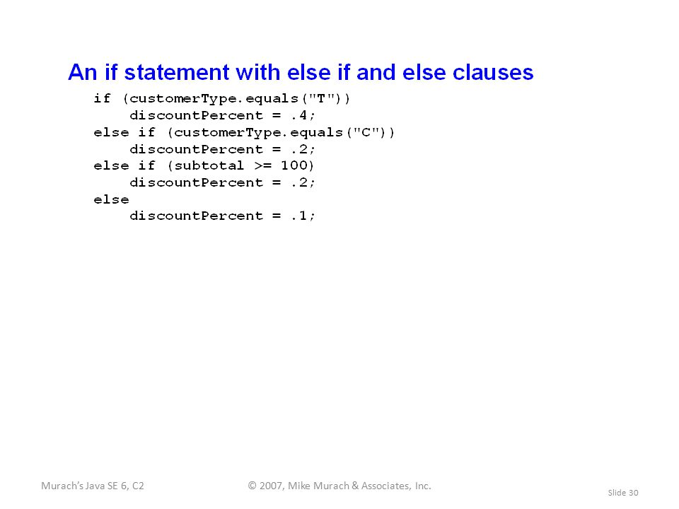 Murach's Java SE 6, C2© 2007, Mike Murach & Associates, Inc. Slide 30