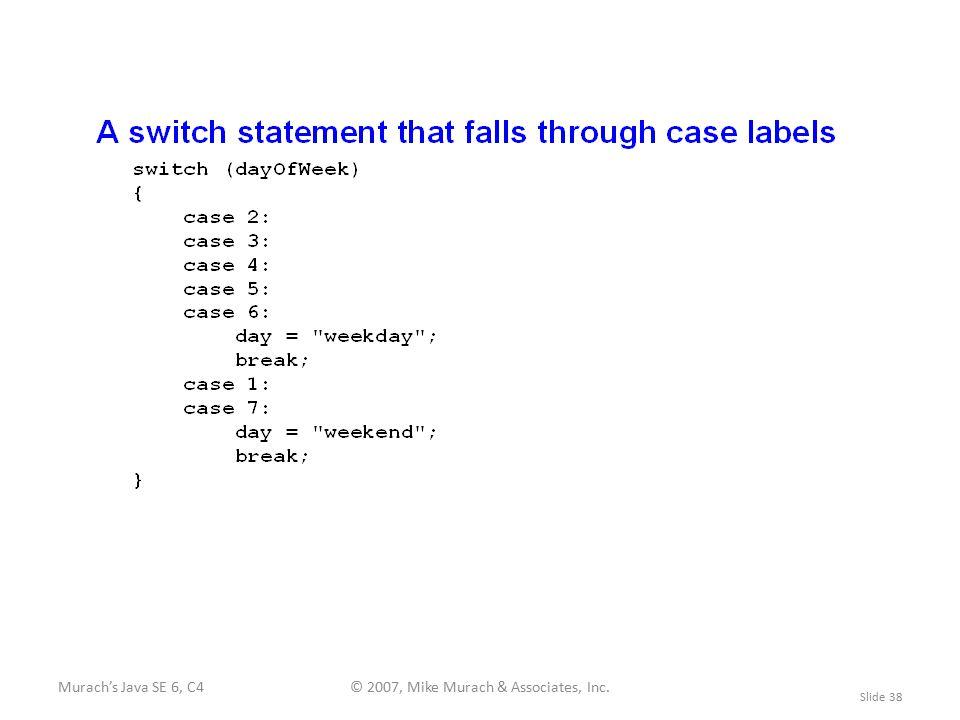 Murach's Java SE 6, C4© 2007, Mike Murach & Associates, Inc. Slide 38
