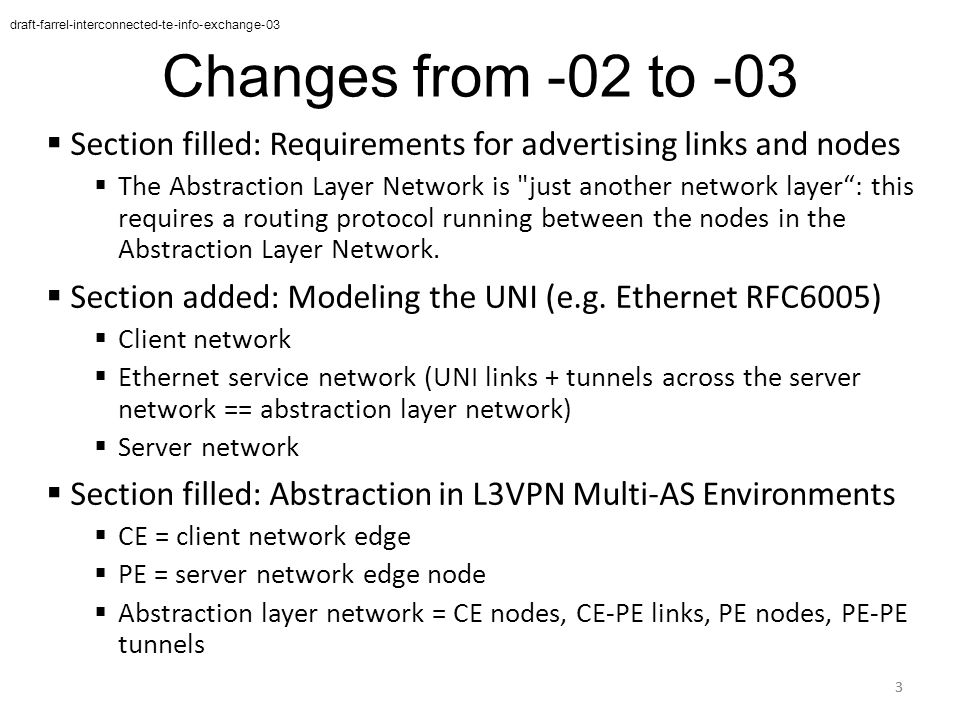 Changes from -02 to -03  Section filled: Requirements for advertising links and nodes  The Abstraction Layer Network is just another network layer : this requires a routing protocol running between the nodes in the Abstraction Layer Network.