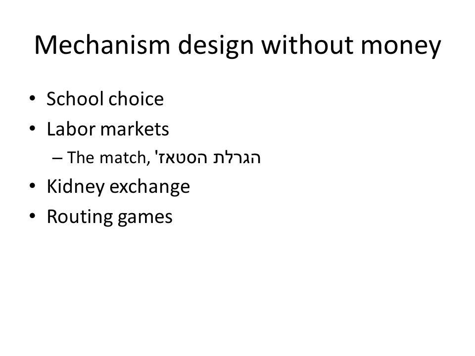 Mechanism design without money School choice Labor markets – The match, הגרלת הסטאז ' Kidney exchange Routing games