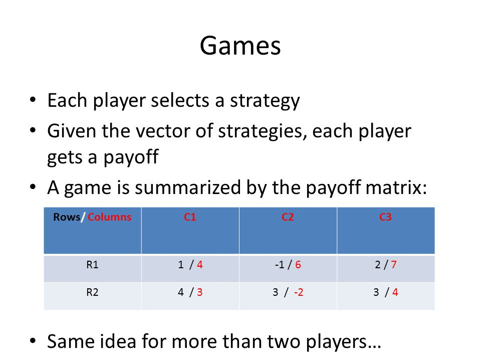 Games Each player selects a strategy Given the vector of strategies, each player gets a payoff A game is summarized by the payoff matrix: Same idea fo