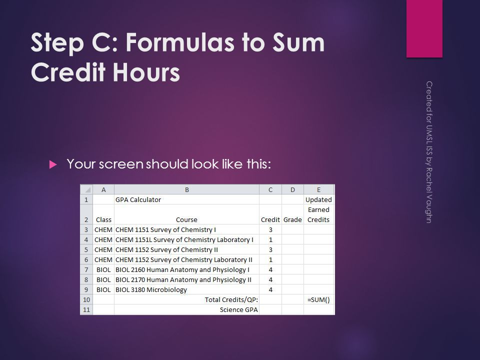 Step C: Formulas to Sum Credit Hours  Your screen should look like this: Created for UMSL ISS by Rachel Vaughn