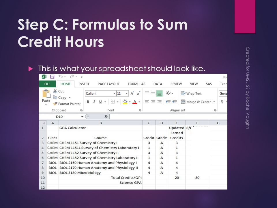 Step C: Formulas to Sum Credit Hours  This is what your spreadsheet should look like.