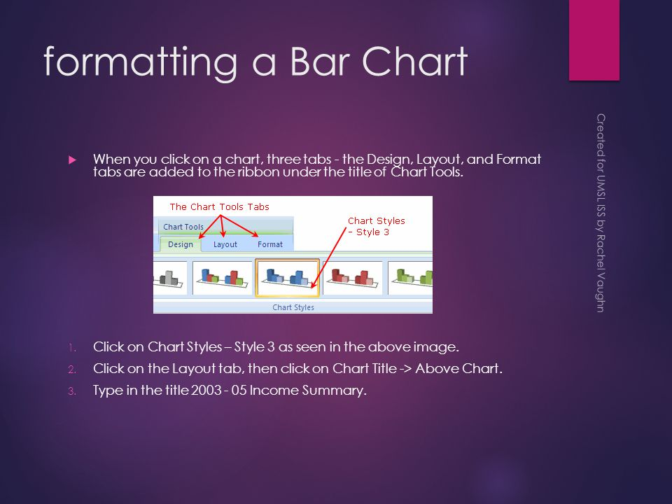 formatting a Bar Chart  When you click on a chart, three tabs - the Design, Layout, and Format tabs are added to the ribbon under the title of Chart Tools.