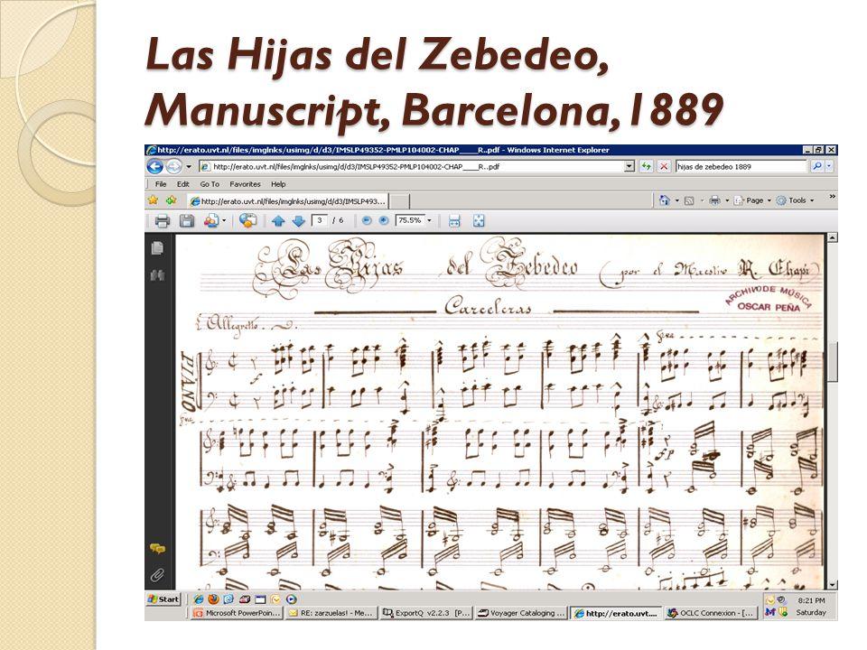 Las Hijas del Zebedeo, Manuscript, Barcelona,1889