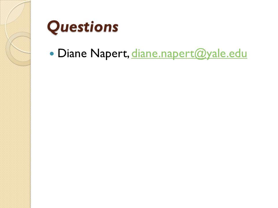 Questions Diane Napert, diane.napert@yale.edudiane.napert@yale.edu