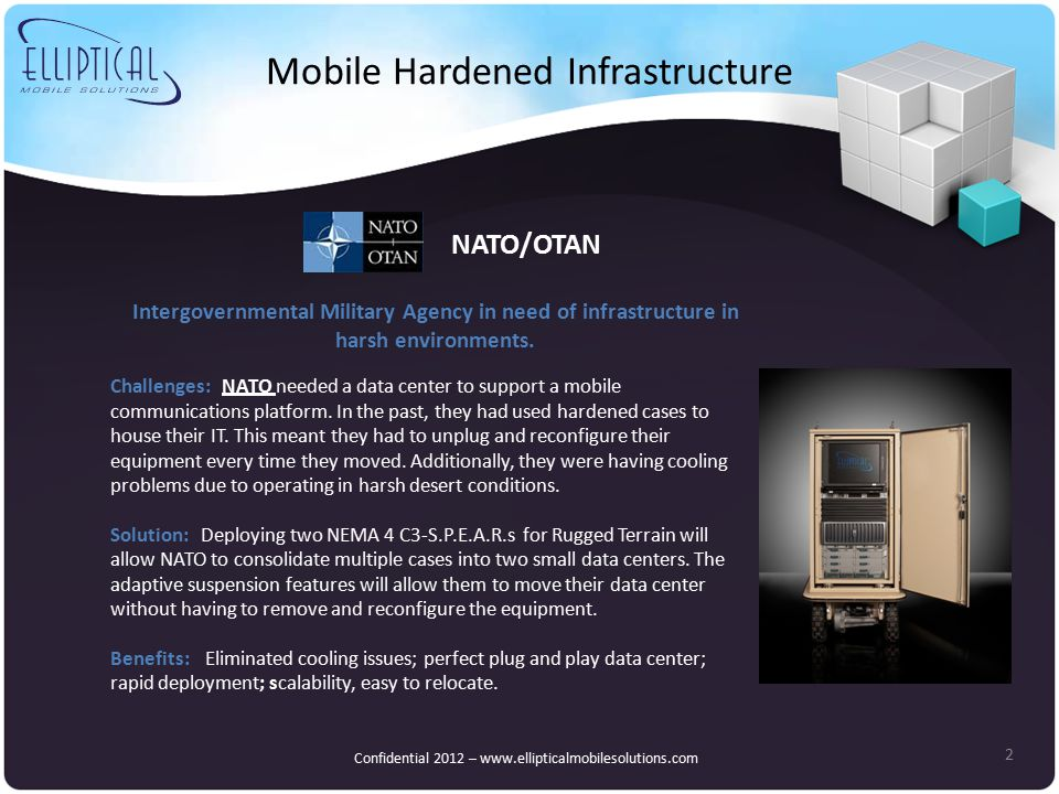 Mobile Hardened Infrastructure 2 NATO/OTAN Confidential 2012 – www.ellipticalmobilesolutions.com Challenges: NATO needed a data center to support a mobile communications platform.
