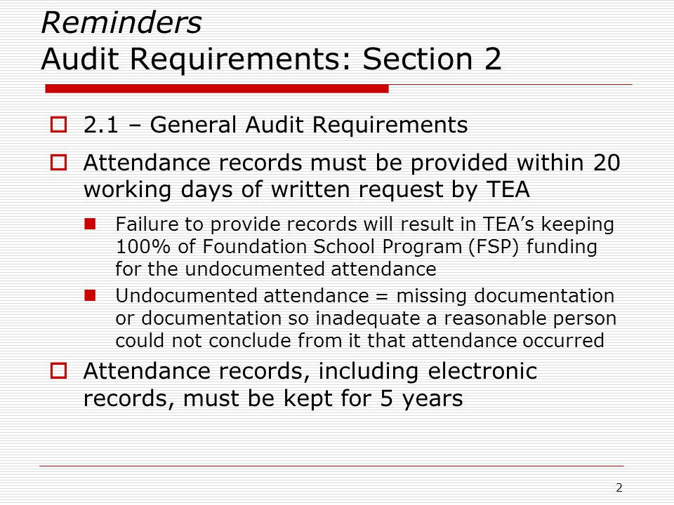 Attendance Requirements – Section 3  3.6.3 – Absences for Which Student May Be Considered Present for FSP (Funding) Purposes (Continued) Election clerk (+ travel) and student early voting clerk (limited to 2 days per year; 2 days do not include travel days) Appearing at government office to complete paperwork for student's US citizenship application (+ travel) Student's own naturalization ceremony (+ travel ) Health care appointments for student *or student's child (including for autism) (student must attend school for part of day) Visiting a university or college (juniors and seniors; limited to 2 days per year) Certain military deployments (limited to 5 days a year) 23