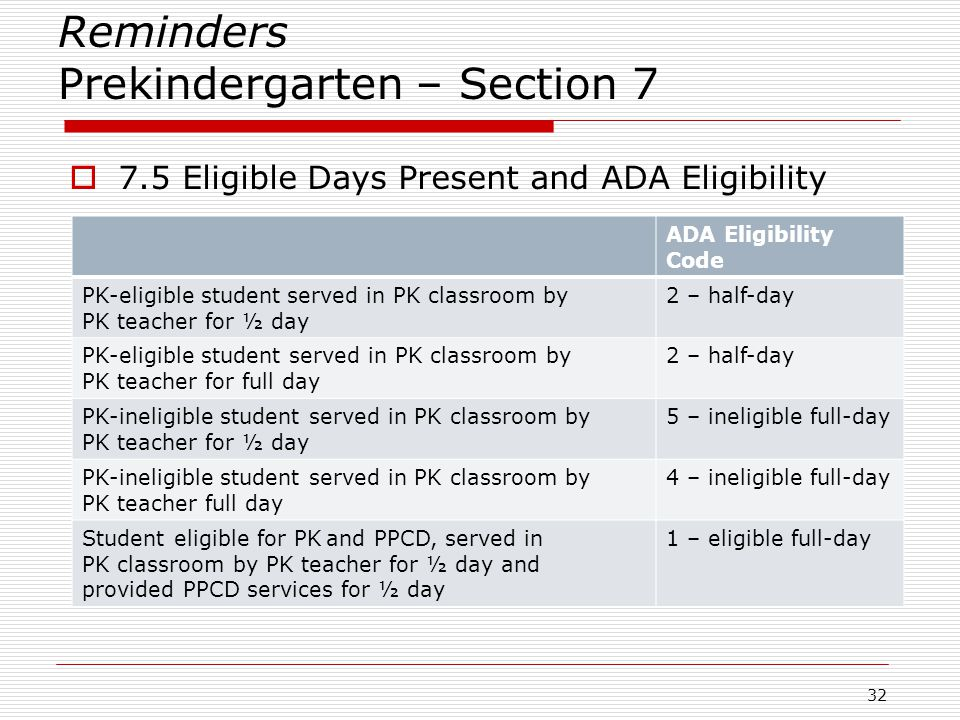 Reminders Prekindergarten – Section 7  7.5 Eligible Days Present and ADA Eligibility 32 ADA Eligibility Code PK-eligible student served in PK classro