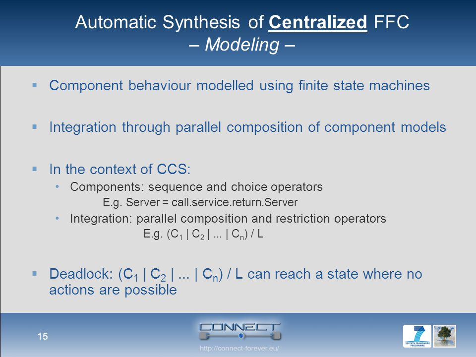 Automatic Synthesis of Centralized FFC – Modeling –  Component behaviour modelled using finite state machines  Integration through parallel composit