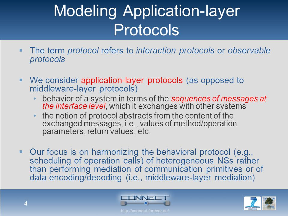 Modeling Application-layer Protocols  The term protocol refers to interaction protocols or observable protocols  We consider application-layer protocols (as opposed to middleware-layer protocols) behavior of a system in terms of the sequences of messages at the interface level, which it exchanges with other systems the notion of protocol abstracts from the content of the exchanged messages, i.e., values of method/operation parameters, return values, etc.