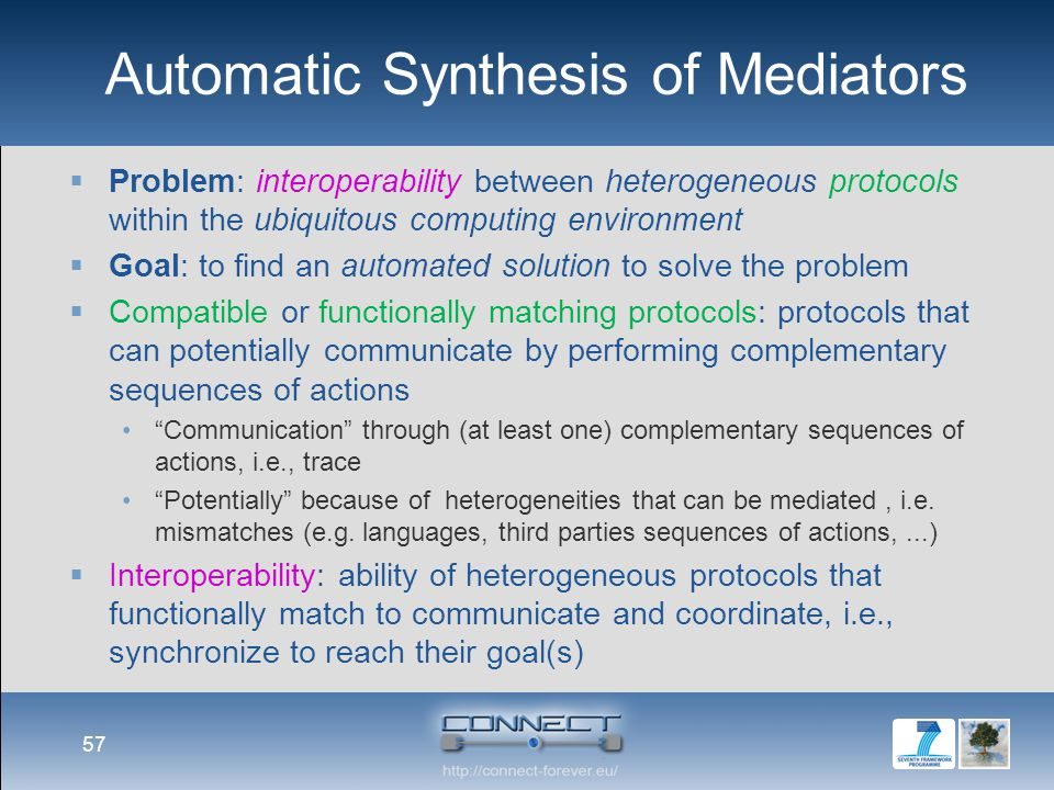 Automatic Synthesis of Mediators 57  Problem: interoperability between heterogeneous protocols within the ubiquitous computing environment  Goal: to
