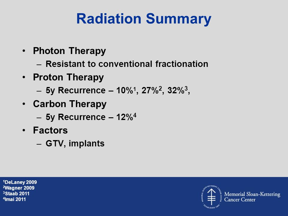 Photon Therapy –Resistant to conventional fractionation Proton Therapy –5y Recurrence – 10% 1, 27% 2, 32% 3, Carbon Therapy –5y Recurrence – 12% 4 Fac
