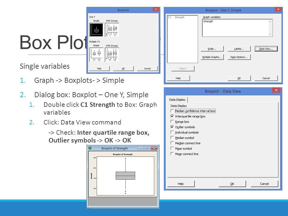 Box Plot Single variables 1.Graph -> Boxplots- > Simple 2.Dialog box: Boxplot – One Y, Simple 1.Double click C1 Strength to Box: Graph variables 2.Click: Data View command -> Check: Inter quartile range box, Outlier symbols -> OK -> OK