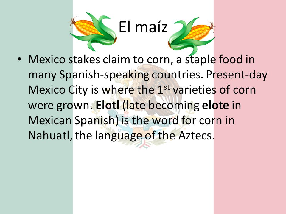 El maíz Mexico stakes claim to corn, a staple food in many Spanish-speaking countries. Present-day Mexico City is where the 1 st varieties of corn wer