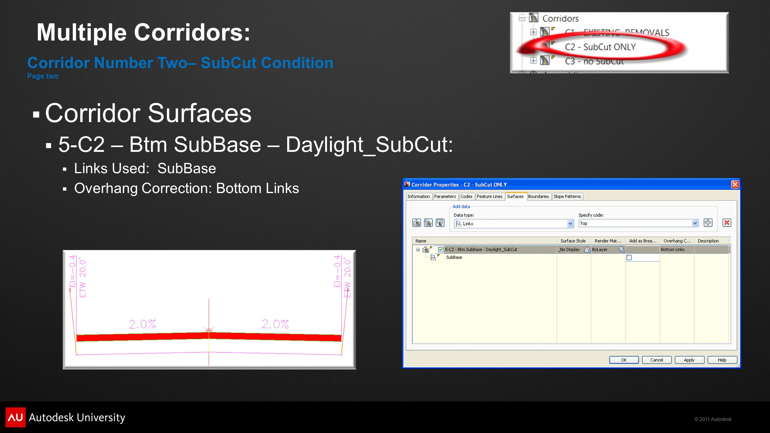 © 2011 Autodesk Multiple Corridors:  Corridor Surfaces  5-C2 – Btm SubBase – Daylight_SubCut:  Links Used: SubBase  Overhang Correction: Bottom Li