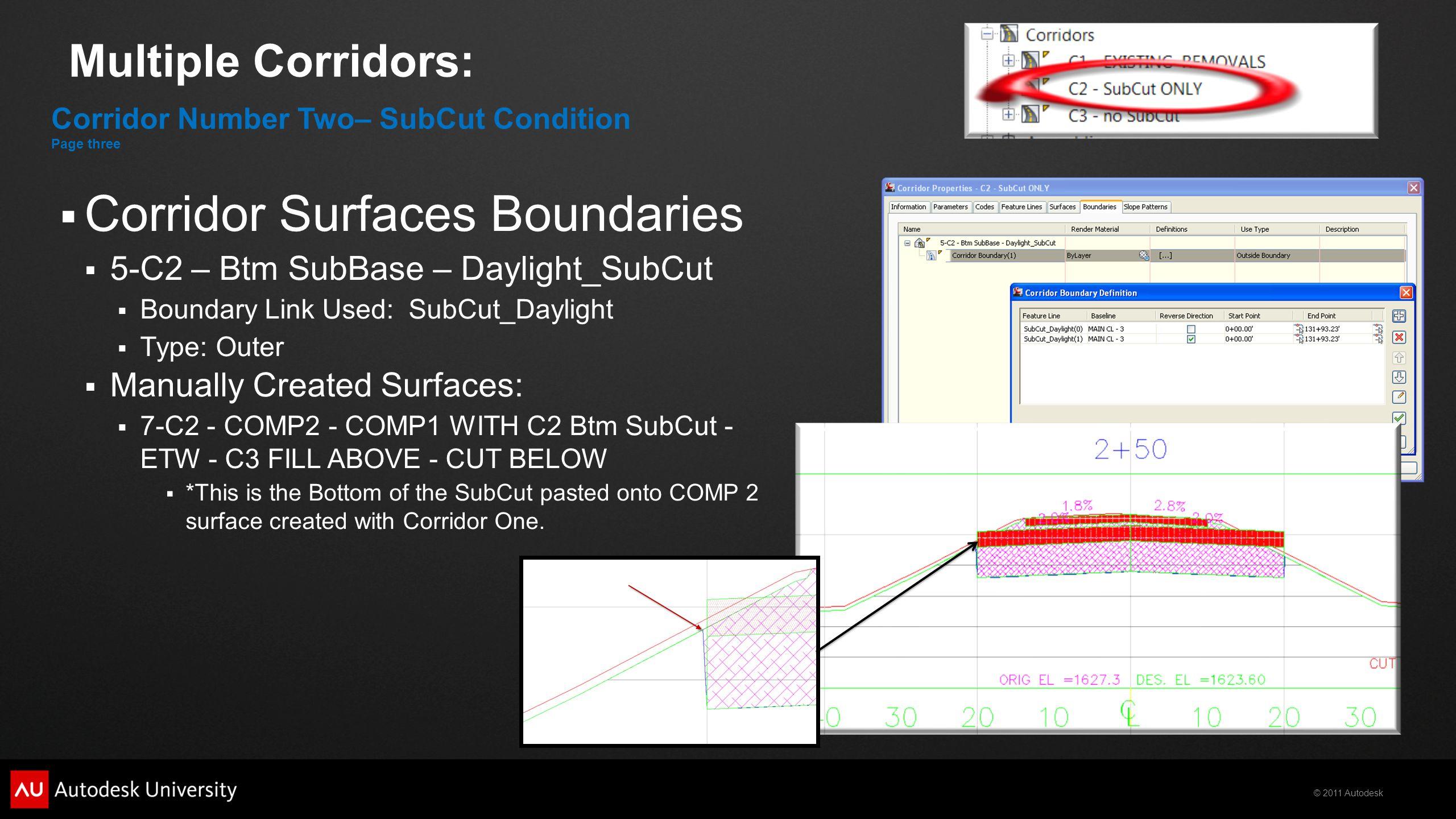 © 2011 Autodesk Multiple Corridors:  Corridor Surfaces Boundaries  5-C2 – Btm SubBase – Daylight_SubCut  Boundary Link Used: SubCut_Daylight  Type