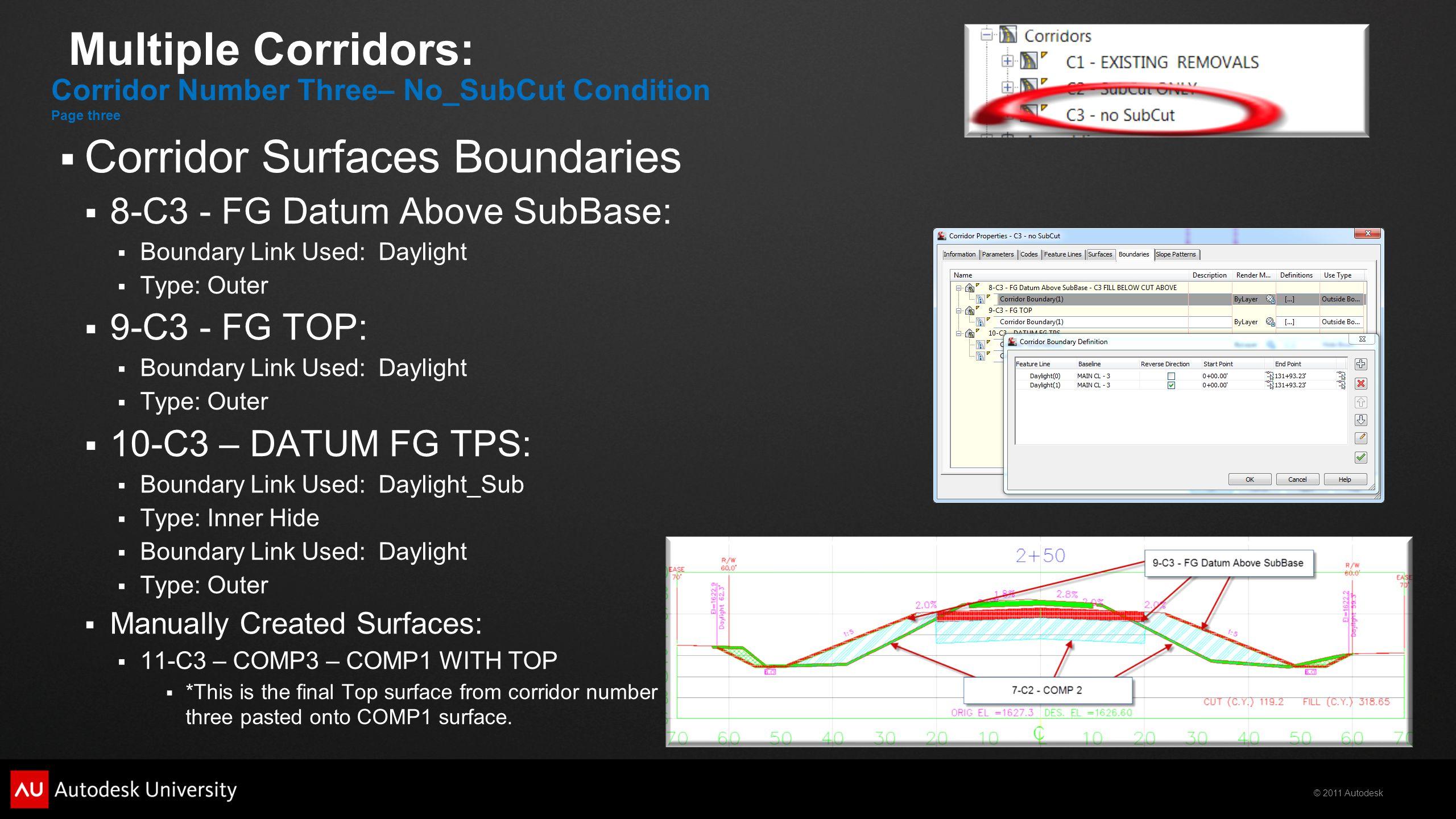 © 2011 Autodesk Multiple Corridors:  Corridor Surfaces Boundaries  8-C3 - FG Datum Above SubBase:  Boundary Link Used: Daylight  Type: Outer  9-C