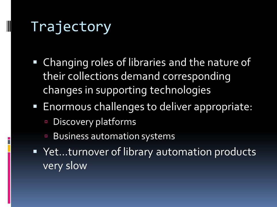 The Business of Open Source ILS  Library procurement of open source ILS  Commercial support companies  Small and fragmented  Many open source implementations taking place independent of commercial support contracts
