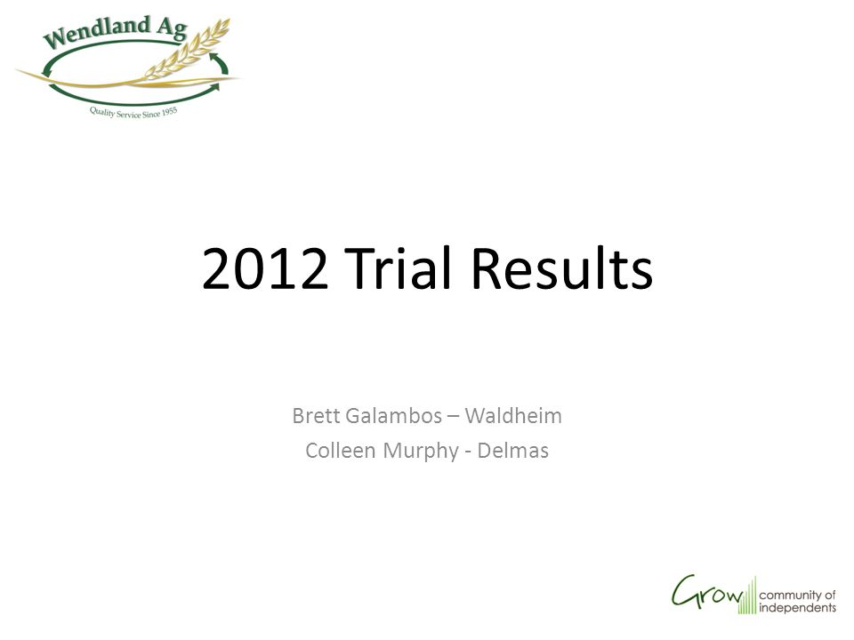 2012 Trial Results Brett Galambos – Waldheim Colleen Murphy - Delmas