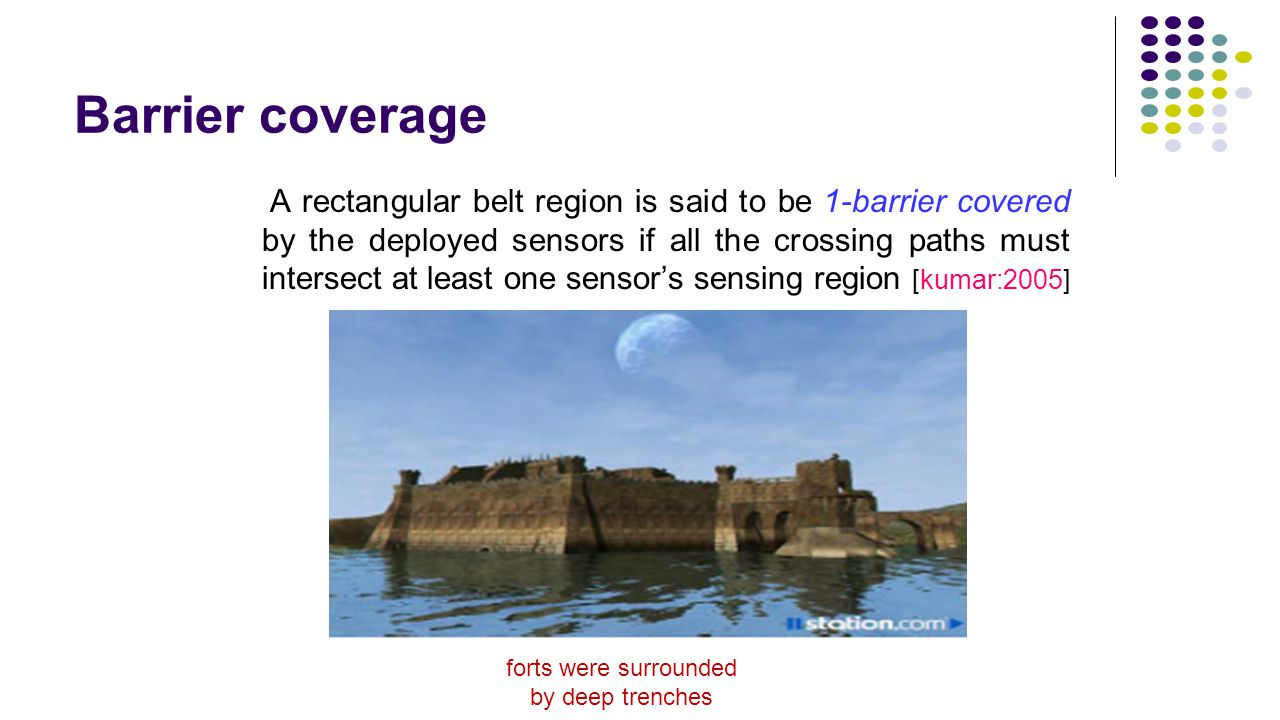 Barrier coverage A rectangular belt region is said to be 1-barrier covered by the deployed sensors if all the crossing paths must intersect at least o