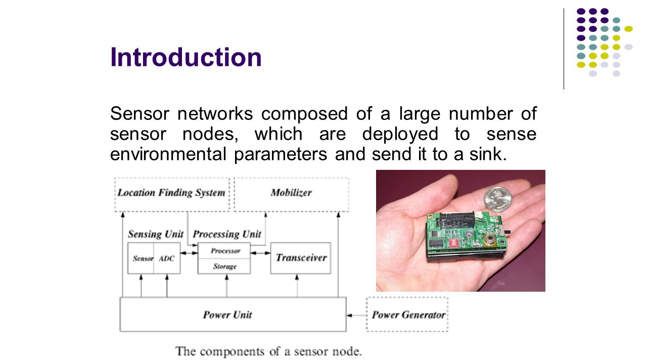 Introduction Sensor networks composed of a large number of sensor nodes, which are deployed to sense environmental parameters and send it to a sink.