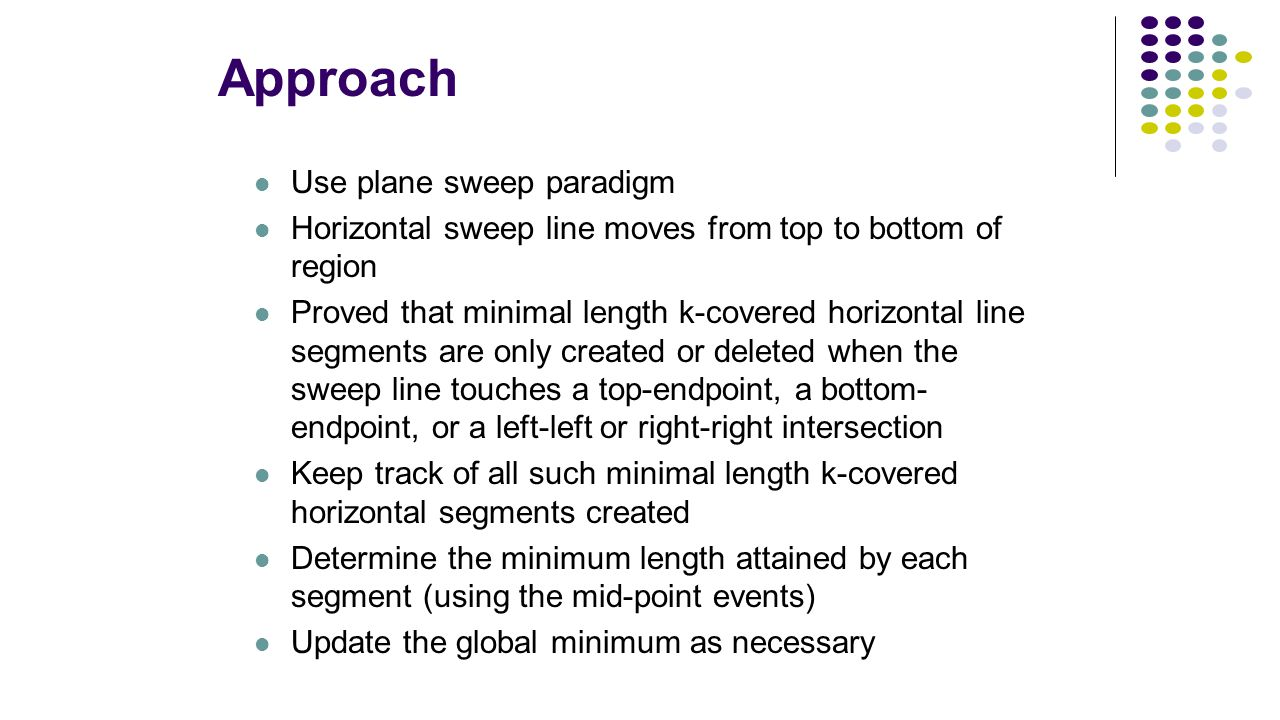 Approach Use plane sweep paradigm Horizontal sweep line moves from top to bottom of region Proved that minimal length k-covered horizontal line segmen