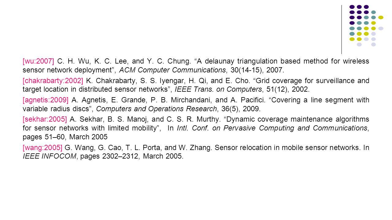"[wu:2007] C. H. Wu, K. C. Lee, and Y. C. Chung. ""A delaunay triangulation based method for wireless sensor network deployment"", ACM Computer Communica"