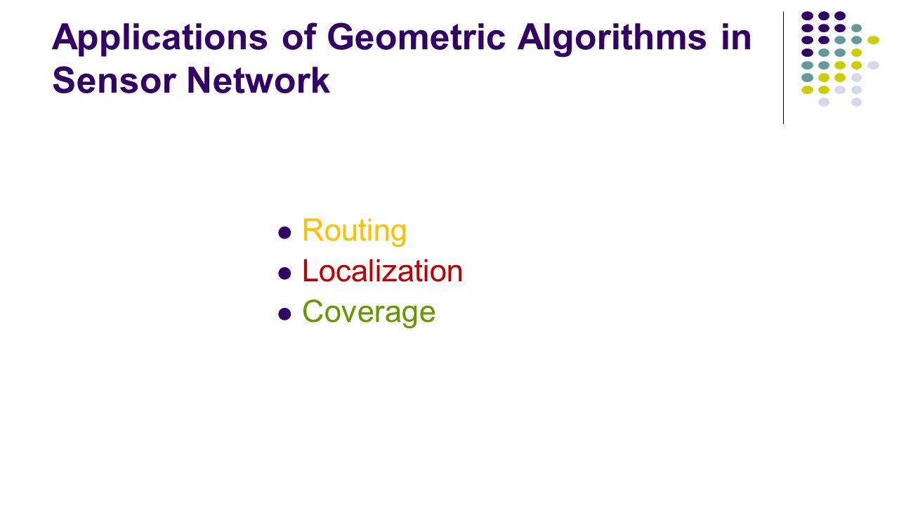 Applications of Geometric Algorithms in Sensor Network Routing Localization Coverage