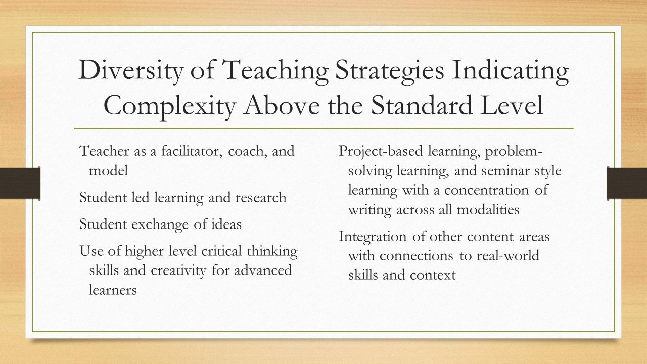 Diversity of Teaching Strategies Indicating Complexity Above the Standard Level Teacher as a facilitator, coach, and model Student led learning and re