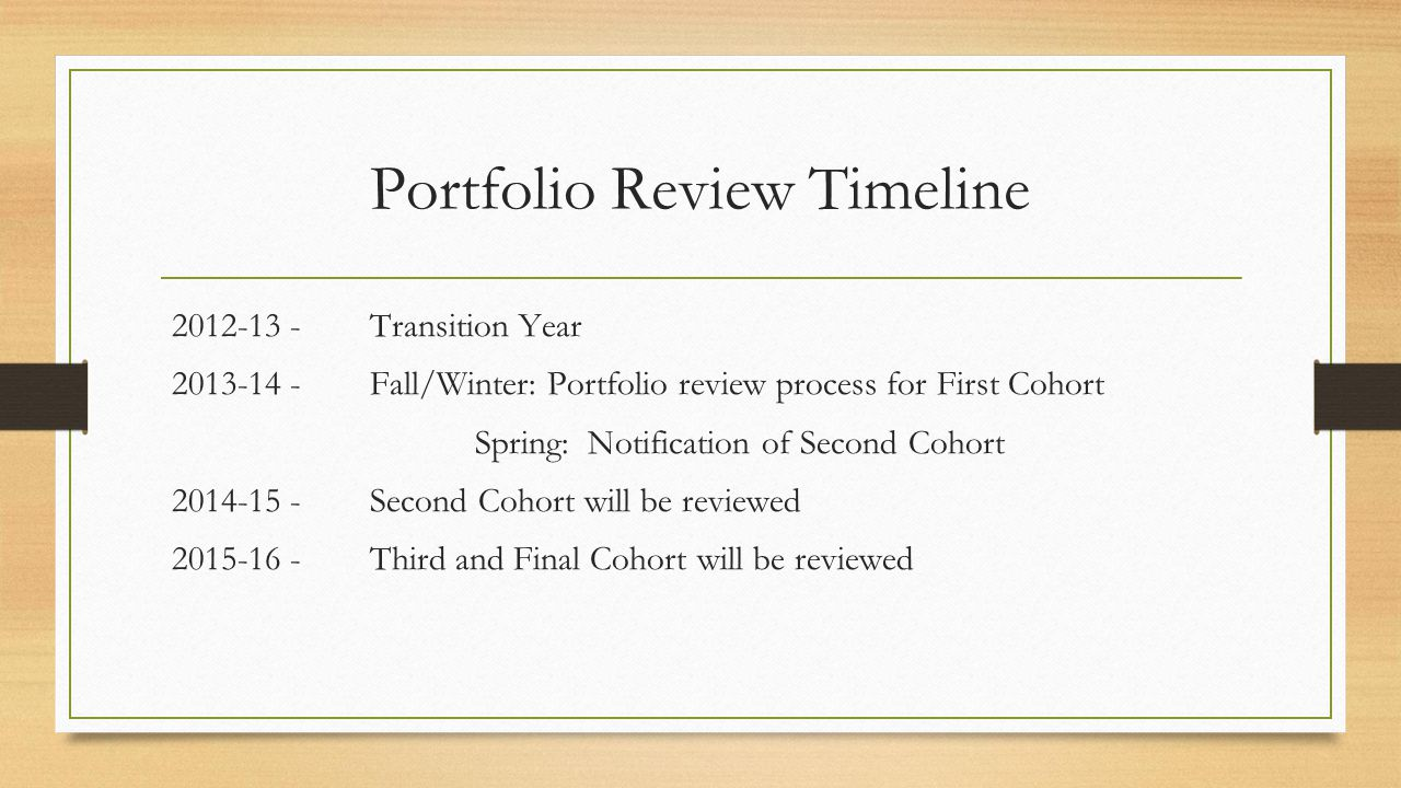 Portfolio Review Timeline 2012-13 - Transition Year 2013-14 - Fall/Winter: Portfolio review process for First Cohort Spring: Notification of Second Co