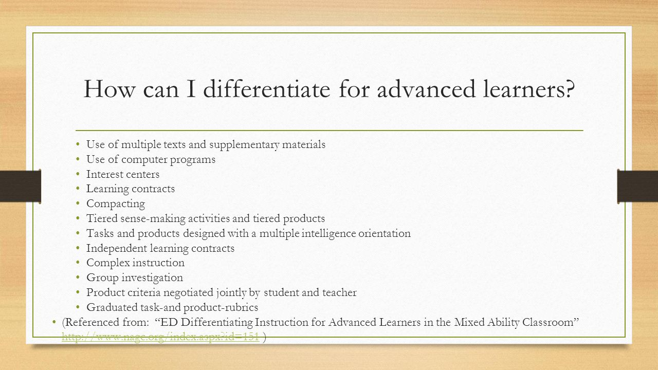 How can I differentiate for advanced learners.
