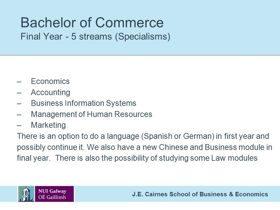 Bachelor of Commerce Final Year - 5 streams (Specialisms) –Economics –Accounting –Business Information Systems –Management of Human Resources –Marketing There is an option to do a language (Spanish or German) in first year and possibly continue it.