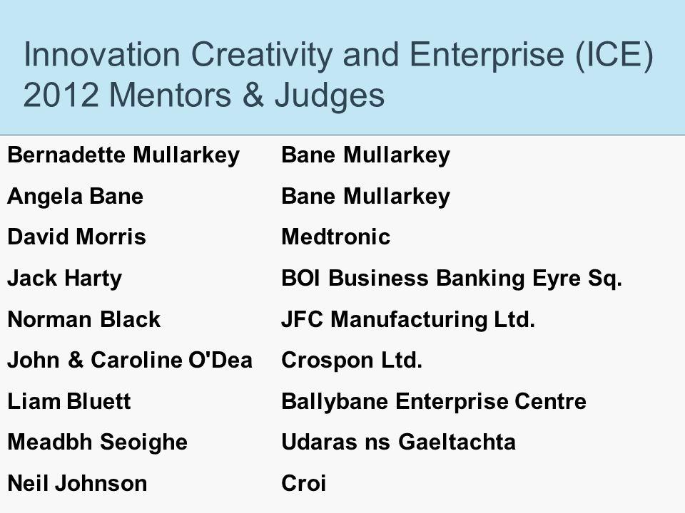 J.E. Cairnes School of Business & Economics Innovation Creativity and Enterprise (ICE) 2012 Mentors & Judges Bernadette Mullarkey Bane Mullarkey Angel