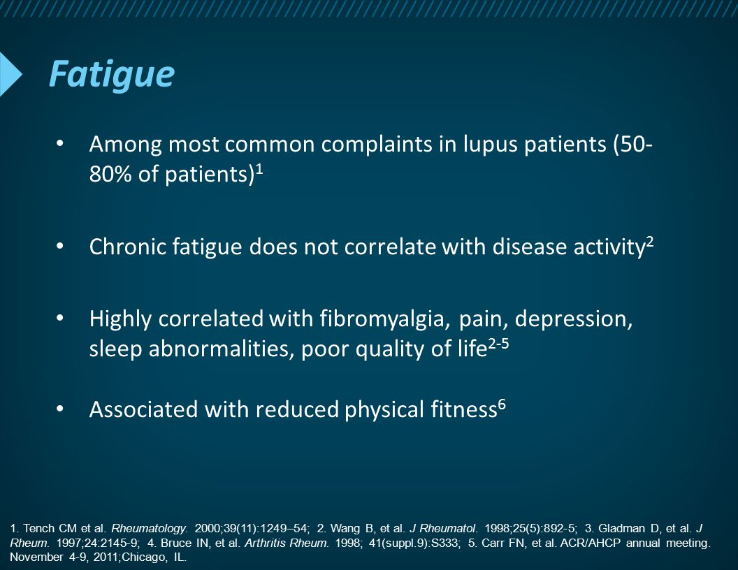 Fatigue Among most common complaints in lupus patients (50- 80% of patients) 1 Chronic fatigue does not correlate with disease activity 2 Highly corre