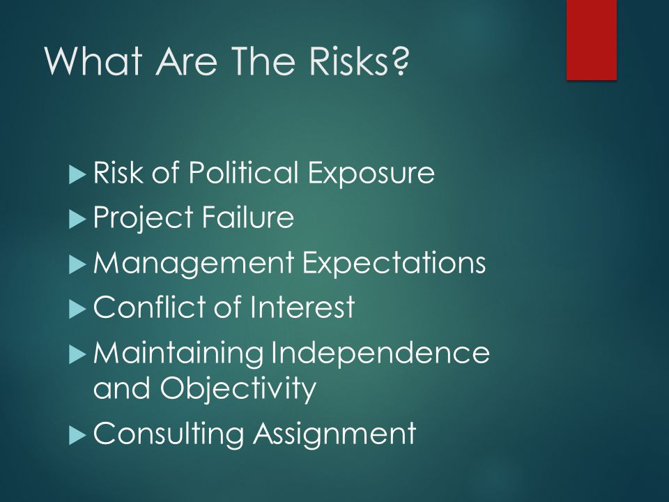 What Are The Risks?  Risk of Political Exposure  Project Failure  Management Expectations  Conflict of Interest  Maintaining Independence and Obj