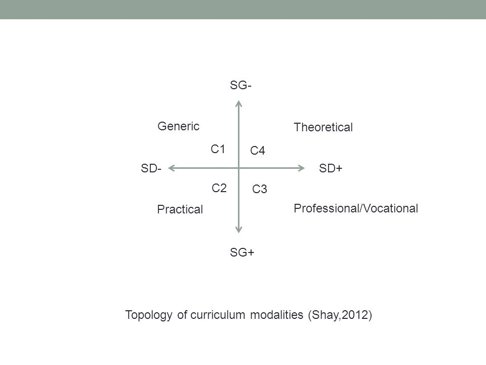 SD+ SG- SD- SG+ Topology of curriculum modalities (Shay,2012) C2 C1 C4 C3 Theoretical Professional/Vocational Practical Generic