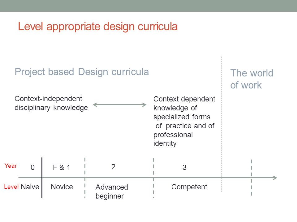 Level appropriate design curricula Project based Design curricula Context dependent knowledge of specialized forms of practice and of professional ide