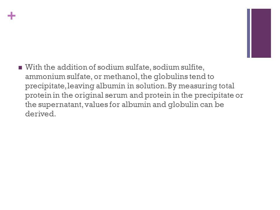 + With the addition of sodium sulfate, sodium sulfite, ammonium sulfate, or methanol, the globulins tend to precipitate, leaving albumin in solution.