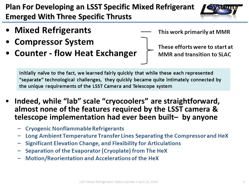 LSST Mixed Refrigeration Status Update April 25, 20146 Mixed Refrigerants are Critical To LSST and Work Continues MMR to Optimize a Mix for LSST First observed by A.P.Kleemenko in 1960, the thermodynamic properties of refrigerant mixtures are markedly different from single component refrigerants used in conventional refrigeration systems –Mixtures extend cooling down to cryogenic temperatures (-130 0 C) required for LSST By combining higher boiling point organics or fluorocarbon refrigerants (R14, R123, R143a…) with cryogenic gasses (Ar, N 2, Kr...) you can greatly expand the range of temperatures and pressures over which liquid and vapor are in equilibrium.