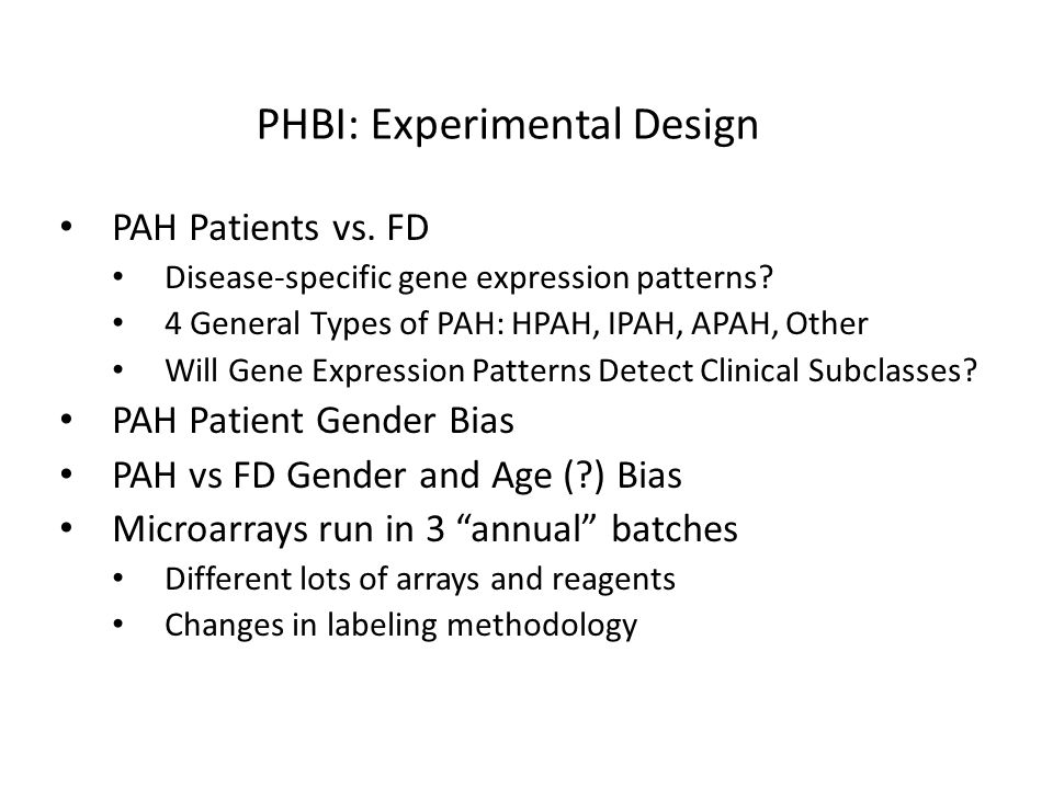 PHBI: Experimental Design PAH Patients vs. FD Disease-specific gene expression patterns.