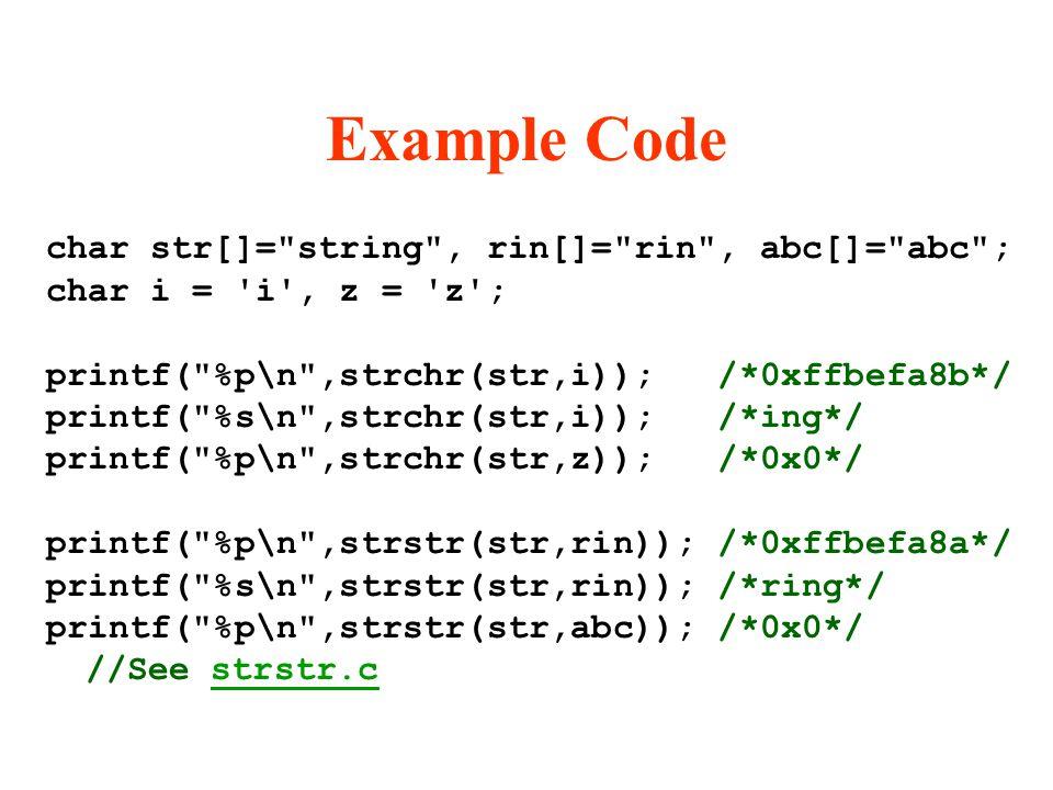 Example Code char str[]=