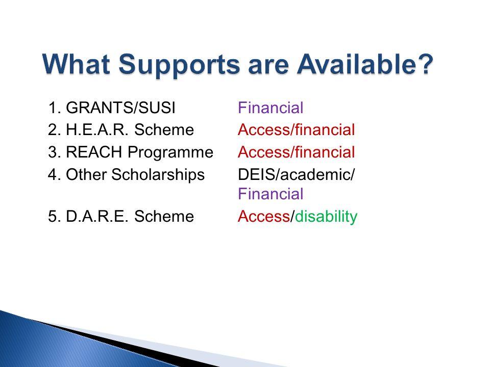 1. GRANTS/SUSI Financial 2. H.E.A.R. Scheme Access/financial 3. REACH Programme Access/financial 4. Other Scholarships DEIS/academic/ Financial 5. D.A
