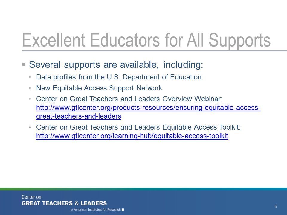  Several supports are available, including: Data profiles from the U.S. Department of Education New Equitable Access Support Network Center on Great